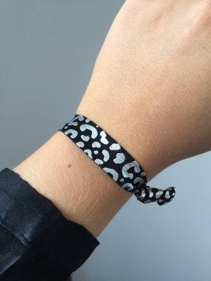 Armband Haargummi schwarz silber Leo NEU