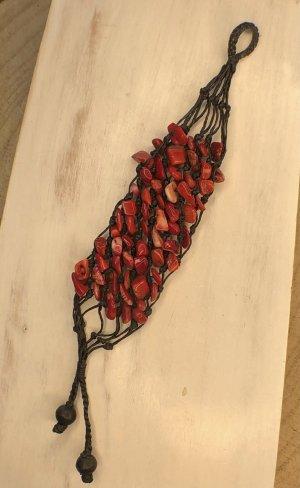 Handmade Braccialetto sottile nero-rosso mattone Cotone