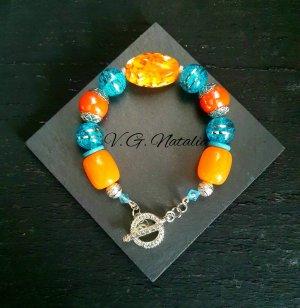 Bransoletka pomarańczowy-niebieski neonowy