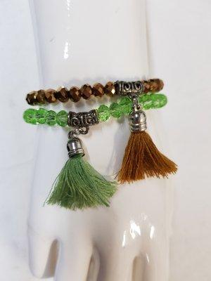 Bracelet à breloques brun-vert
