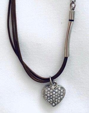 Armband Kunstleder mit Herz Anhänger Vintage