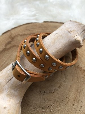 Handmade Leather Bracelet gold orange-silver-colored leather