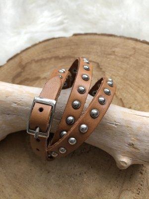 Handmade Braccialetto di cuoio marrone chiaro-argento Pelle