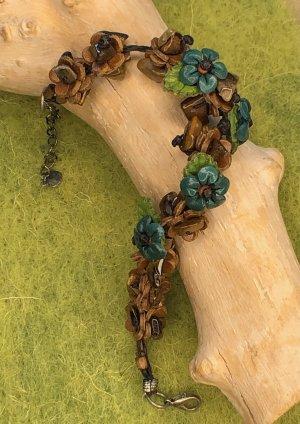 Handmade Brazalete de cuero marrón-azul cadete Cuero