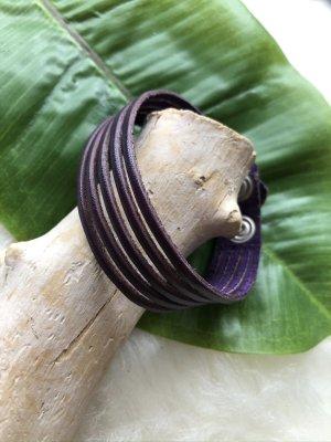 Handmade Bracelet en cuir violet foncé cuir