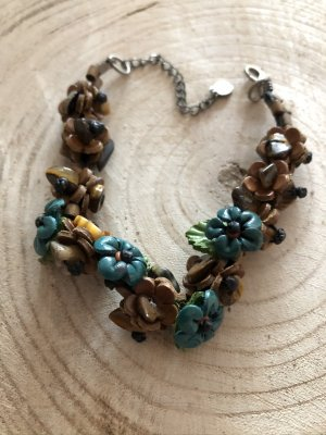 Leather Bracelet brown-turquoise leather