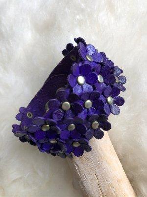Handmade Skórzane ozdoby na ręce  ciemny fiolet Skóra