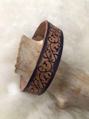 Handmade Leather Bracelet dark blue-silver-colored