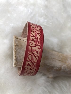 Handmade Leather Bracelet brick red-silver-colored leather