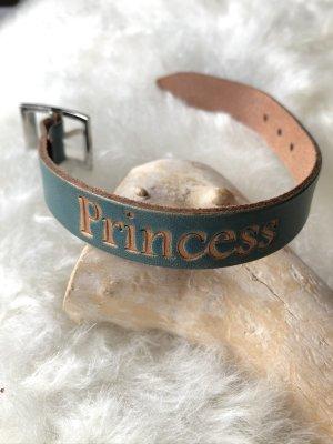 Handmade Bracelet en cuir bleu cadet cuir