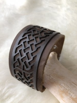 handmade Leather Bracelet brown-silver-colored cotton