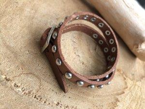 Armband Leder braun 2fach Gürtelschnallen Verschluss 42x0,9 cm