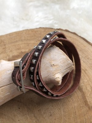 handmade Leather Bracelet brown-silver-colored leather