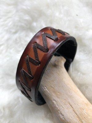 handmade Bracelet en cuir cognac-brun foncé cuir