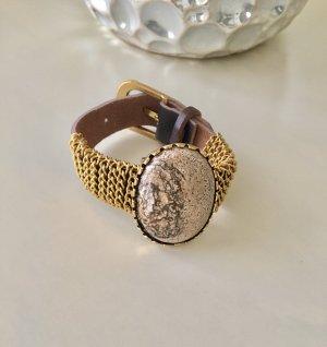 Lederen armband donkerbruin-goud