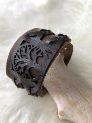 Handmade Skórzane ozdoby na ręce  ciemnobrązowy-srebrny Skóra