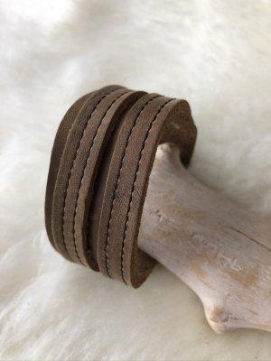 Handmade Braccialetto di cuoio marrone chiaro-marrone Pelle