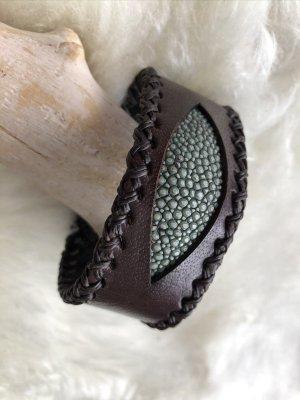 Handmade Leather Bracelet dark brown-sage green leather