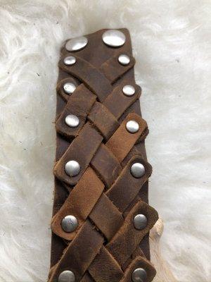 handmade Bracelet en cuir cognac-argenté