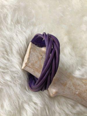 Handmade Leather Bracelet dark violet-silver-colored leather