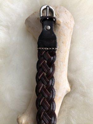 Braccialetto di cuoio marrone scuro-argento Pelle
