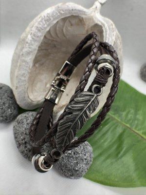 Handmade Lederen armband donkerbruin-zilver Leer