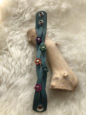 Handmade Bracelet en cuir bleu cadet