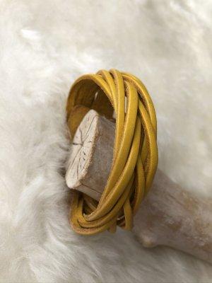 handmade Bracelet en cuir orange doré-argenté cuir