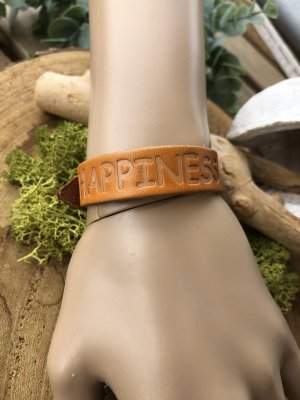 Handmade Bracelet en cuir orange clair-argenté cuir