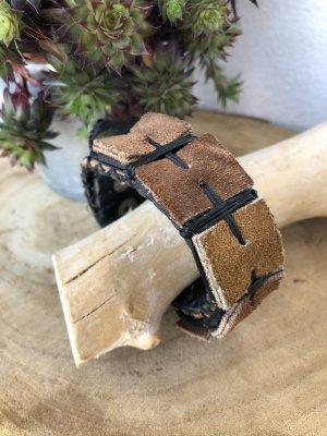 Handmade Skórzane ozdoby na ręce  jasnobrązowy-czarny Skóra