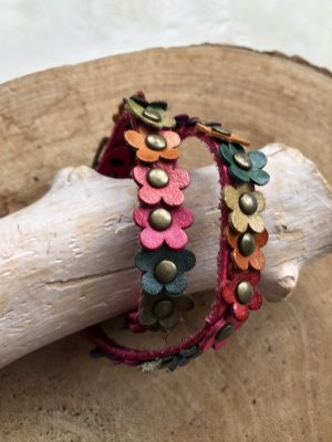 handmade Leather Bracelet raspberry-red-bronze-colored leather