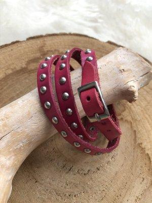 Handmade Braccialetto di cuoio rosso lampone-argento Pelle