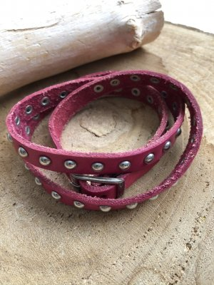 unbranded Leather Bracelet raspberry-red leather