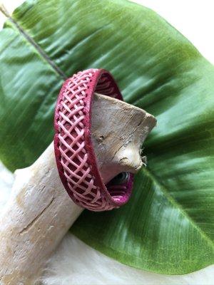 unbranded Bracelet en cuir magenta-rose clair cuir