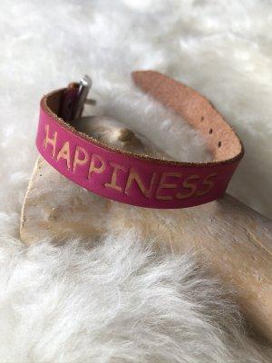 Armband Leder magenta Branding HAPPINESS 24x1,6 cm