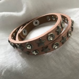 Armband Leder mit Glitzersteinchen, 2-reihig