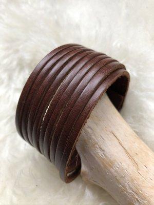 Handmade Skórzane ozdoby na ręce  brązowy-srebrny Skóra