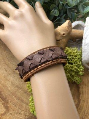 Handmade Lederen armband lichtbruin-donkerbruin Leer