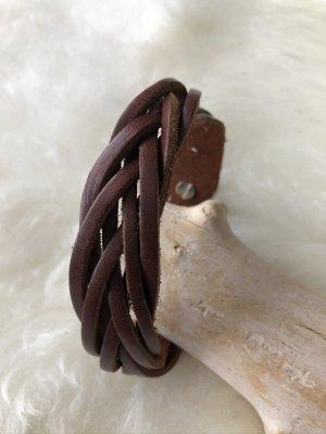 Handmade Skórzane ozdoby na ręce  ciemnobrązowy-brązowy Skóra