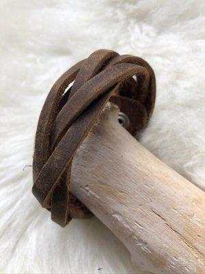 Handmade Leather Bracelet light brown-cognac-coloured leather