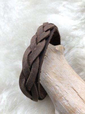 Handmade Leather Bracelet light brown-brown leather