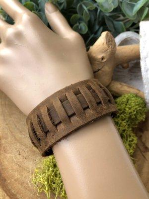 Handmade Lederen armband lichtbruin-bruin Leer