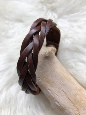 Handmade Bracelet en cuir brun-argenté cuir