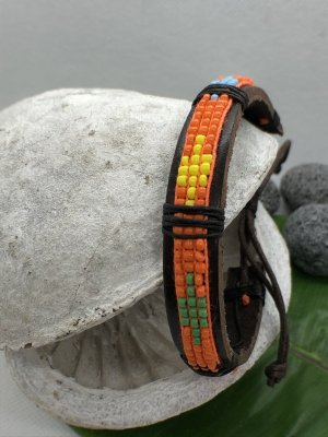 Leather Bracelet orange leather