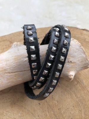 Handmade Braccialetto di cuoio nero-argento Pelle