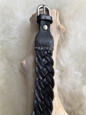 Braccialetto di cuoio nero-argento Pelle