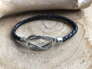 Armband Leder schwarz geflochten Unendlichkeit silberfarben 22x0,5 cm