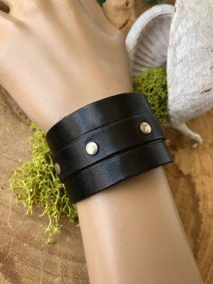 Handmade Bracelet en cuir noir-argenté cuir