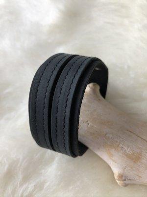 unbranded Leather Bracelet black-silver-colored leather