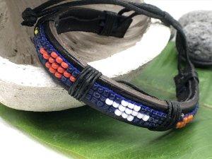 Armband Leder schwarz Perlen blau weiß rot gelb orange Ethno Design  Breite 1,4 cm
